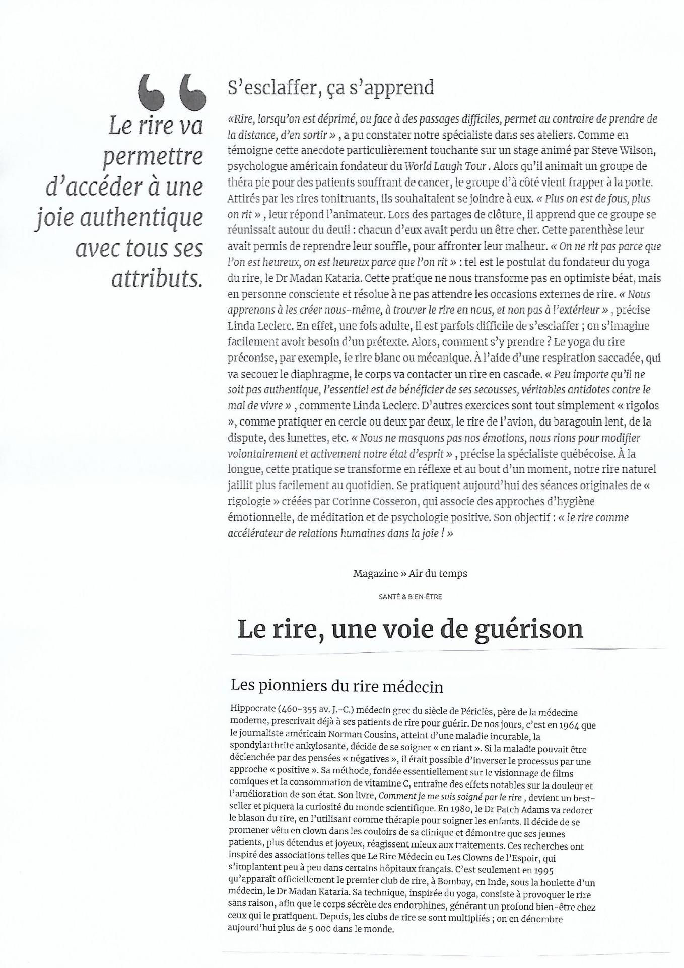 Article magazine air du temps